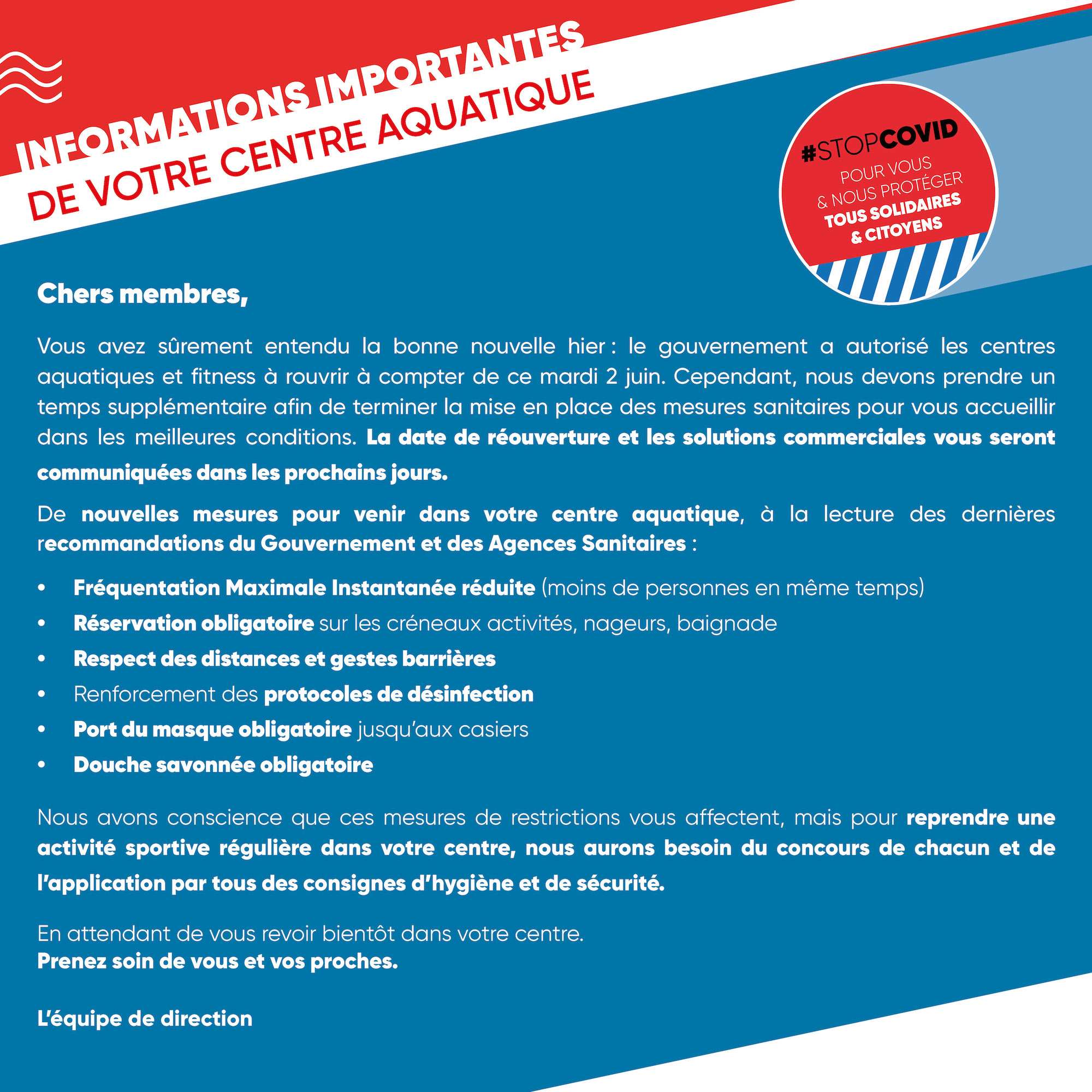 INFORMATIONS REOUVERTURE